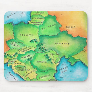 Map of Eastern Europe Mouse Pad
