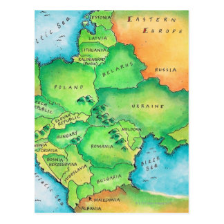 Map of Eastern Europe Post Card