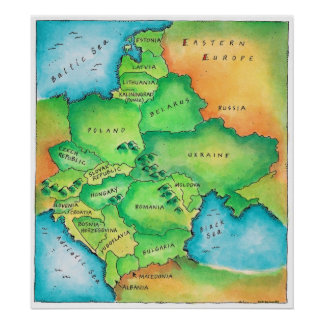 Map of Eastern Europe Poster