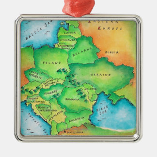 Map of Eastern Europe Silver-Colored Square Decoration