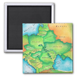 Map of Eastern Europe Square Magnet