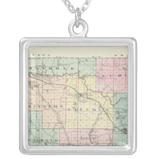 Map of Eau Claire County, State of Wisconsin Silver Plated Necklace