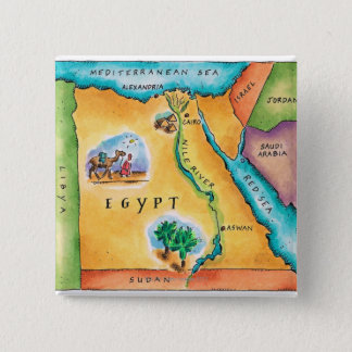 Map of Egypt 15 Cm Square Badge