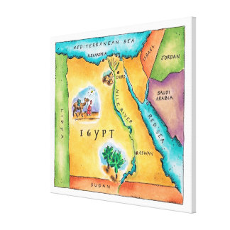 Map of Egypt Canvas Print