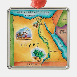 Map of Egypt Silver-Colored Square Decoration