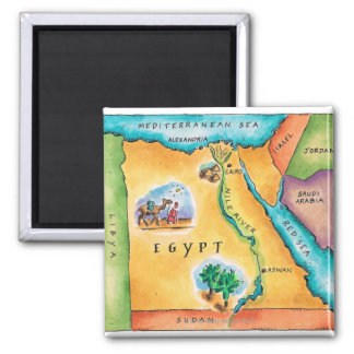 Map of Egypt Square Magnet