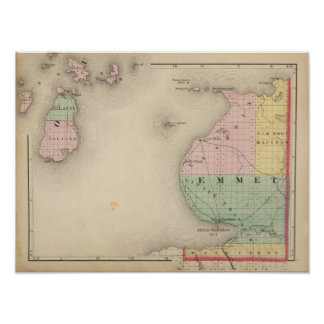 Map of Emmet County, Michigan Poster