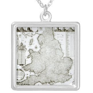 Map of England and Wales, 1644 Silver Plated Necklace