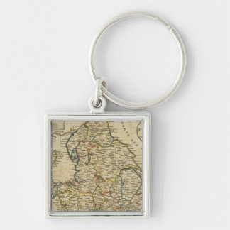 Map of England and Wales Silver-Colored Square Key Ring