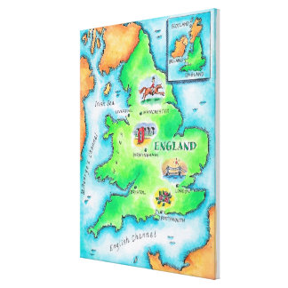 Map of England Canvas Print