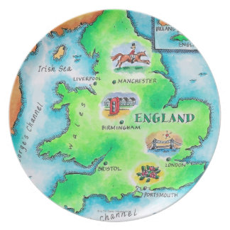 Map of England Dinner Plates
