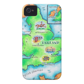 Map of England iPhone 4 Case-Mate Cases