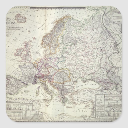 Map of Europe, 1841 Sticker