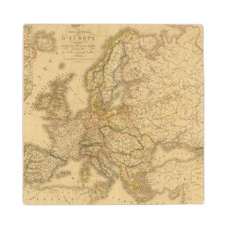 Map of Europe 2 Maple Wood Coaster