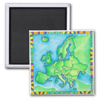 Map of Europe 2 Square Magnet