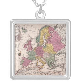 Map of Europe 3 Silver Plated Necklace