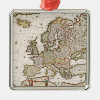 Map of Europe 4 Silver-Colored Square Decoration