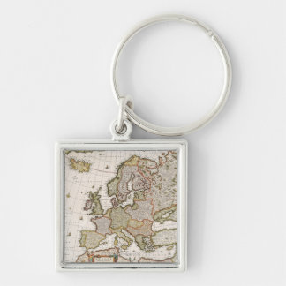 Map of Europe 4 Silver-Colored Square Key Ring