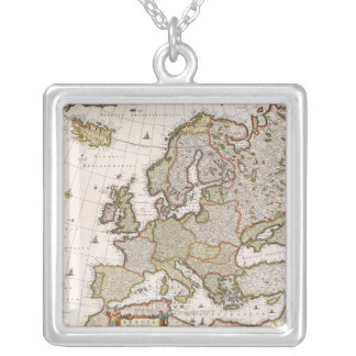 Map of Europe 4 Silver Plated Necklace