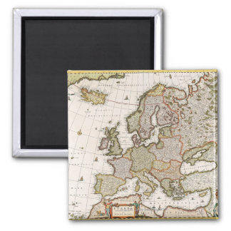 Map of Europe 4 Square Magnet