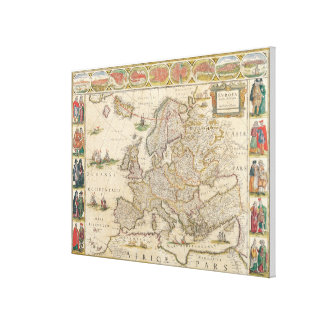 Map of Europe 5 Canvas Print