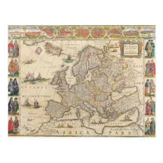 Map of Europe 6 Postcard