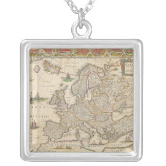 Map of Europe 6 Silver Plated Necklace