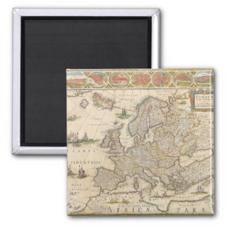 Map of Europe 6 Square Magnet