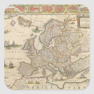 Map of Europe 6 Square Sticker
