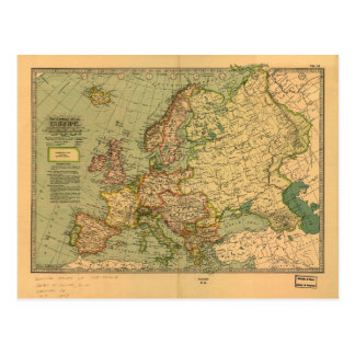 Map of Europe by Century Atlas Company (1897) Postcard
