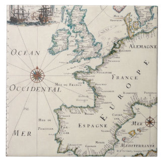 Map of Europe Large Square Tile