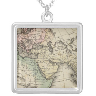 map of Europe, Northern Africa and Southeast Asia Silver Plated Necklace