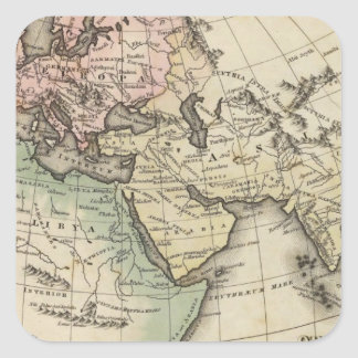 map of Europe, Northern Africa and Southeast Asia Square Sticker