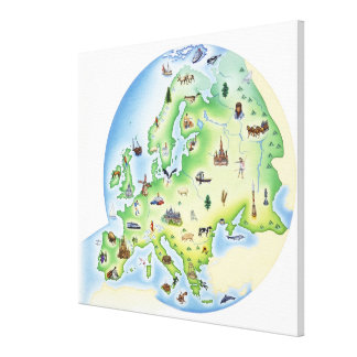 Map of Europe with illustrations of famous Canvas Print