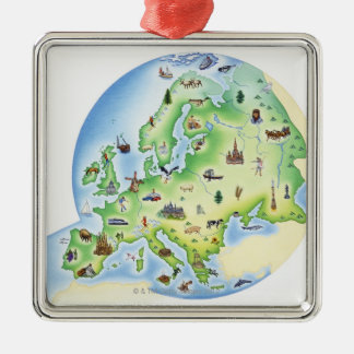 Map of Europe with illustrations of famous Christmas Ornament