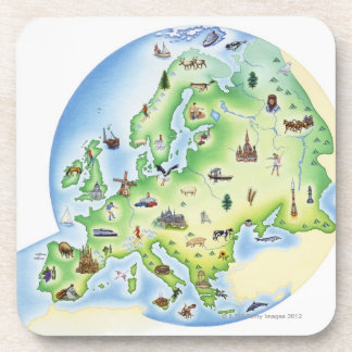 Map of Europe with illustrations of famous Coaster