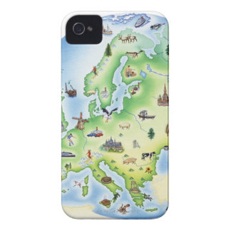 Map of Europe with illustrations of famous iPhone 4 Case-Mate Case