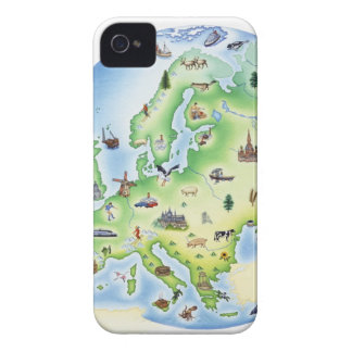 Map of Europe with illustrations of famous iPhone 4 Case-Mate Cases