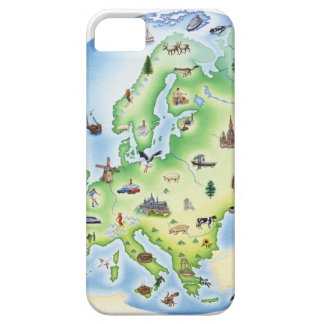 Map of Europe with illustrations of famous iPhone 5 Covers