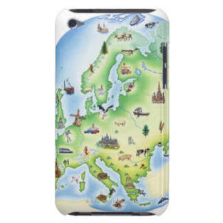 Map of Europe with illustrations of famous iPod Touch Cases