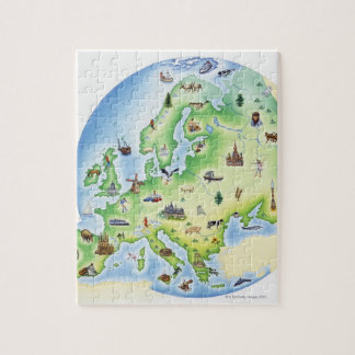 Map of Europe with illustrations of famous Jigsaw Puzzle
