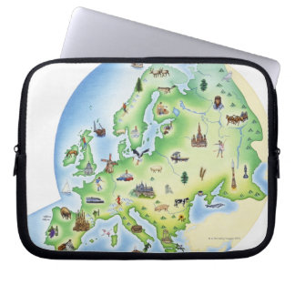 Map of Europe with illustrations of famous Laptop Sleeve