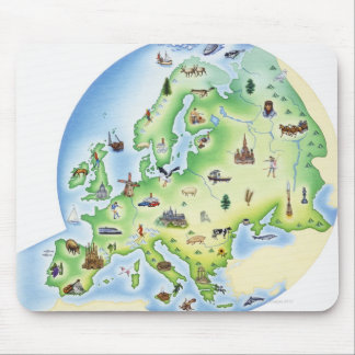 Map of Europe with illustrations of famous Mouse Mat