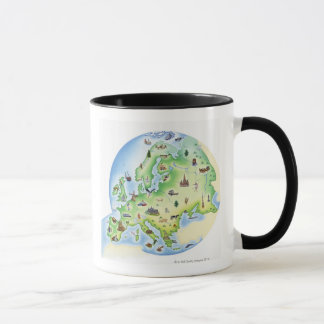 Map of Europe with illustrations of famous Mug