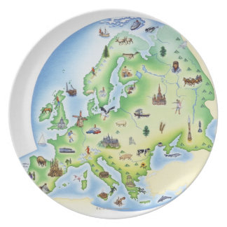 Map of Europe with illustrations of famous Plate