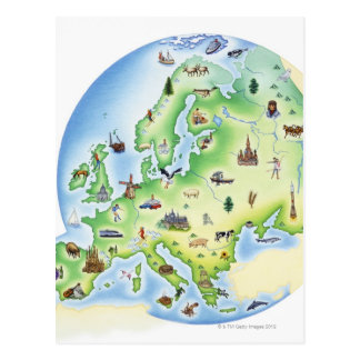 Map of Europe with illustrations of famous Postcard
