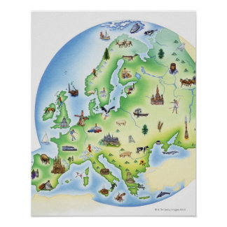 Map of Europe with illustrations of famous Poster