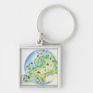 Map of Europe with illustrations of famous Silver-Colored Square Key Ring