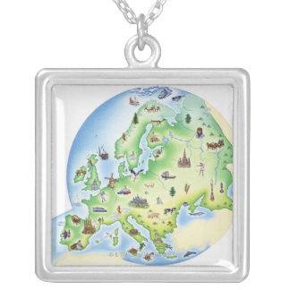 Map of Europe with illustrations of famous Silver Plated Necklace