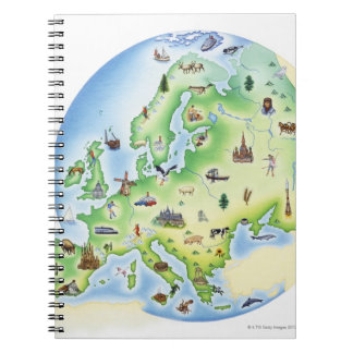 Map of Europe with illustrations of famous Spiral Notebook